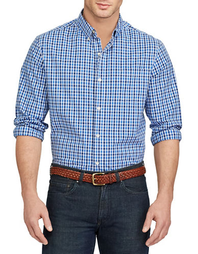 Chaps Checkered Stretch Cotton Shirt-BLUE-Large