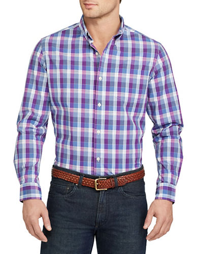 Chaps Plaid Stretch Cotton Shirt-PURPLE-X-Large