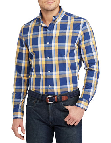 Chaps Plaid Stretch Cotton Poplin Shirt-BLUE-X-Large