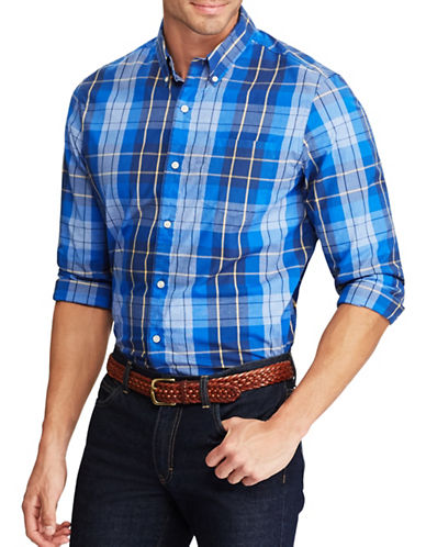 Chaps Plaid Stretch Poplin Shirt-BLUE-Small