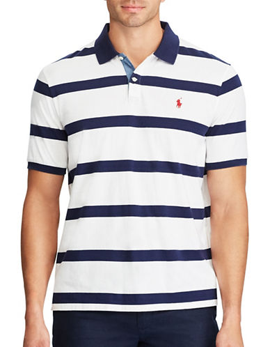 Polo Ralph Lauren Classic-Fit Striped Cotton Polo-WHITE-4X Tall