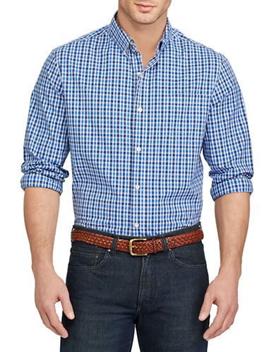 Chaps Checked Stretch Cotton Shirt-BLUE-3X Big