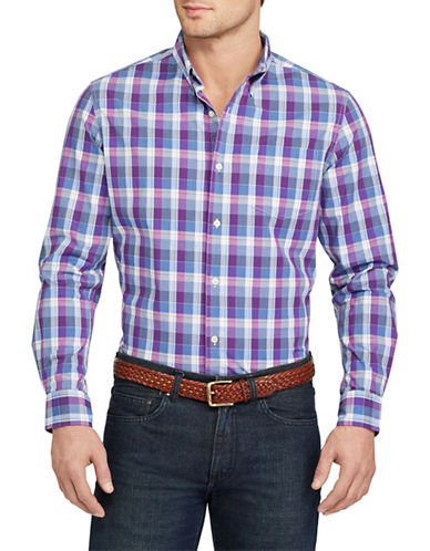 Chaps Plaid Stretch Cotton Shirt-PURPLE-4X Big