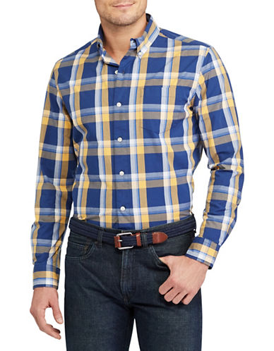 Chaps Plaid Stretch Cotton Shirt-BLUE-1X Tall