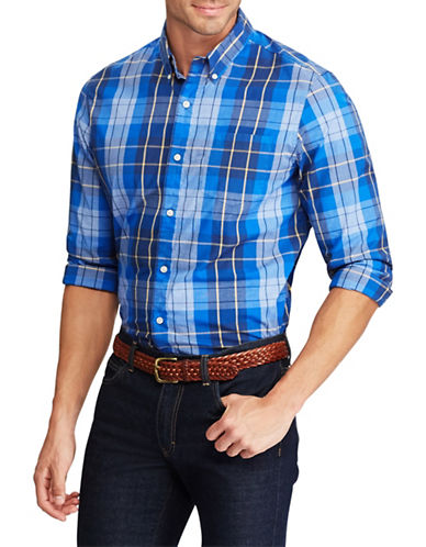 Chaps Plaid Stretch Shirt-BLUE-3X Tall