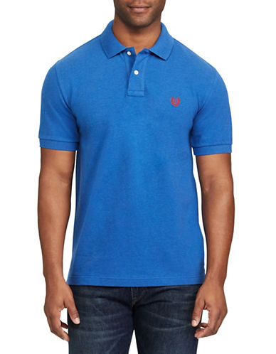 Chaps Stretch Mesh Polo-BLUE-Small