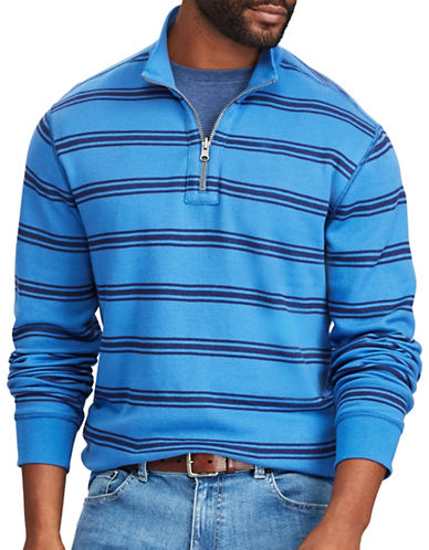 Chaps Reversible Mockneck Cotton Pullover-BLUE-Medium
