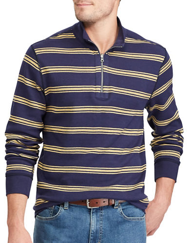 Chaps Reversible Mockneck Cotton Pullover-NAVY-Large