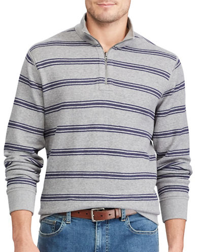 Chaps Reversible Mockneck Cotton Pullover-GREY-Medium