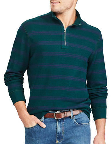 Chaps Reversible Mockneck Cotton Pullover-GREEN-X-Large