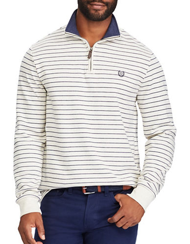 Chaps Striped Mock Neck Pullover Sweater-NATURAL-Medium
