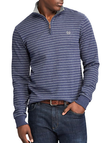Chaps Striped Mock Neck Pullover Sweater-NAVY-Small