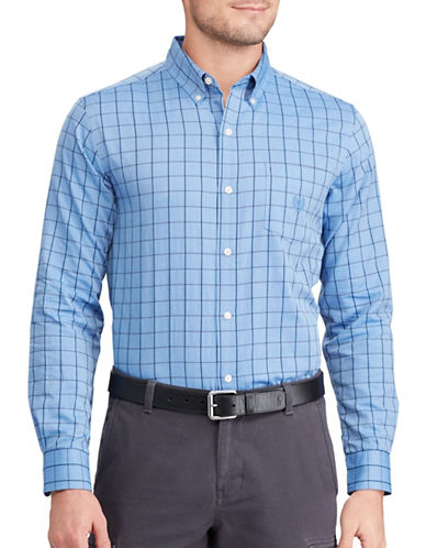 Chaps Herringbone Cotton Shirt-BLUE-Large