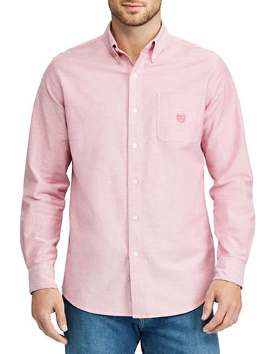 Chaps Stretch Oxford Sport Shirt-PINK-Small