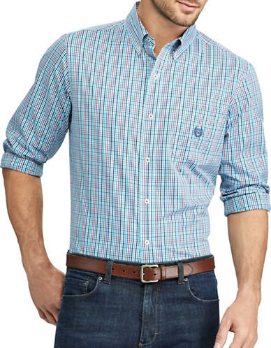 Chaps Checked Stretch Poplin Button-Down Shirt-BLUE-Small