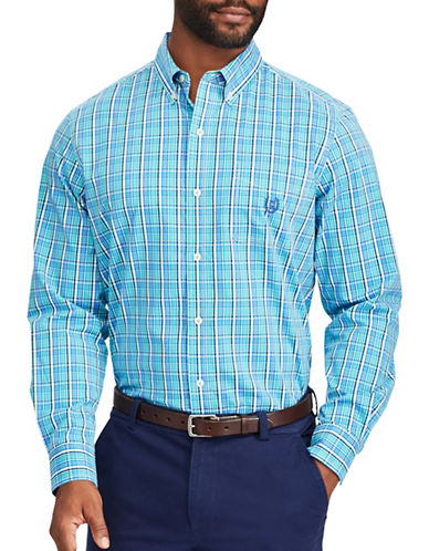 Chaps Stretch Poplin Casual Button-Down Shirt-BLUE-Medium