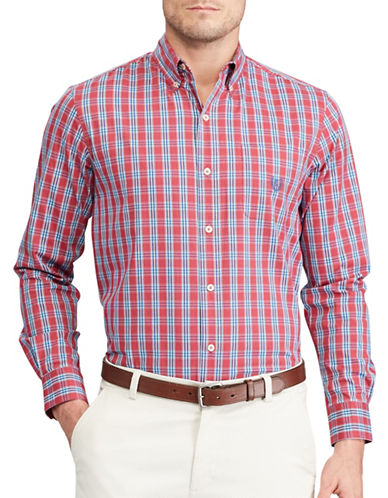 Chaps Plaid Stretch Poplin Button-Down Shirt-RED-Large