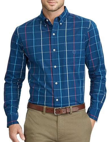Chaps Plaid Stretch Poplin Button-Down Shirt-BLUE-Large
