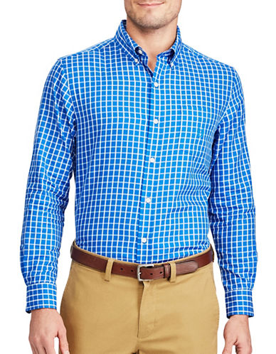 Chaps Checked Twill Button-Down Shirt-BLUE-Large