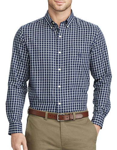 Chaps Checked Twill Shirt-NAVY-Small