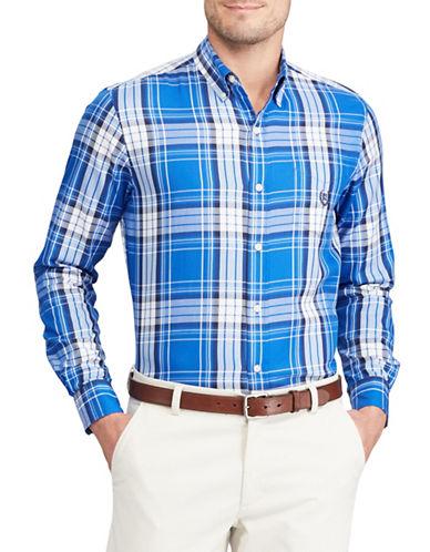 Chaps Plaid Twill Shirt-BLUE-X-Large