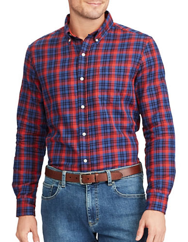 Chaps Plaid Cotton Sport Shirt-RED-X-Large
