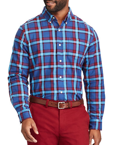 Chaps Plaid Cotton Sport Shirt-BLUE-Small
