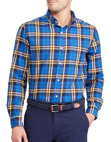 Chaps Plaid Cotton Sport Shirt-BLUE-X-Large