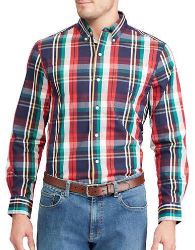 Chaps Plaid Stretch Poplin Shirt-NAVY-Large