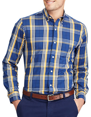 Chaps Plaid Stretch Sport Shirt-BLUE-Large