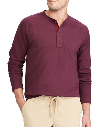 Chaps Long Sleeve Cotton Henley-RED-Large
