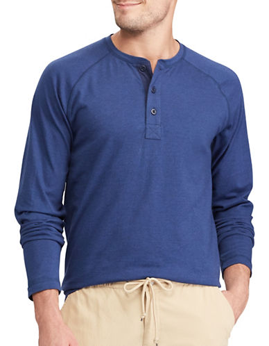 Chaps Long Sleeve Cotton Henley-NAVY-X-Large