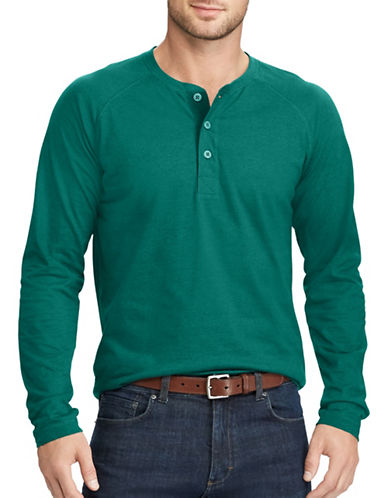 Chaps Long Sleeve Cotton Henley-GREEN-Large