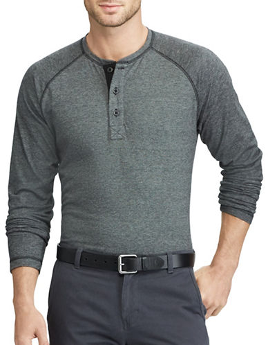 Chaps Long Sleeve Cotton Henley-BLACK-Small