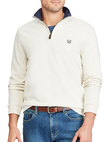 Chaps Mock Neck Pullover Sweater-NATURAL-Medium