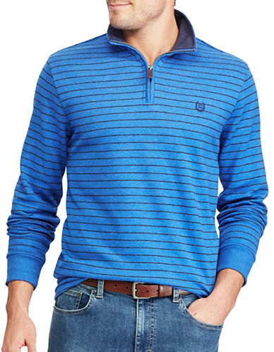 Chaps Striped Mock Neck Pullover Sweater-BLUE-Medium