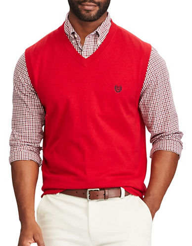 Chaps Cotton Sweater Vest-RED-Medium