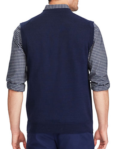 Chaps Cotton Sweater Vest-NAVY-Small