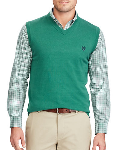 Chaps Cotton Sweater Vest-GREEN-Small