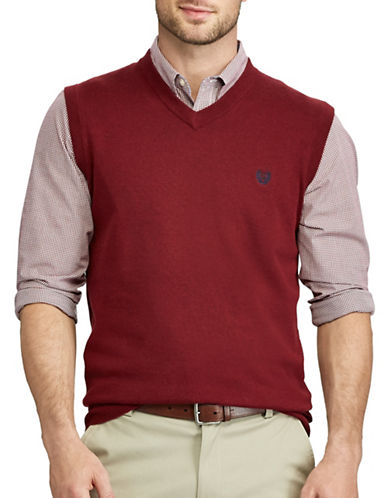 Chaps Cotton Sweater Vest-RED-Large