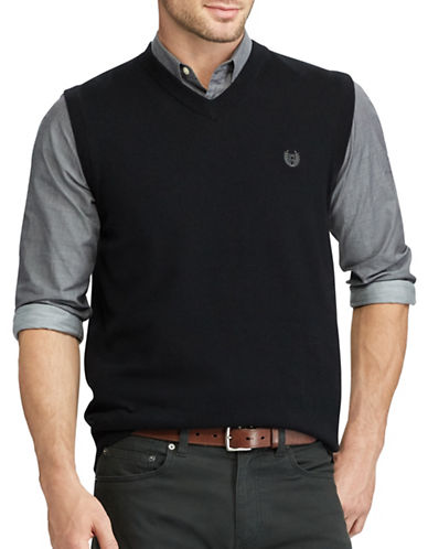 Chaps Cotton Sweater Vest-BLACK-X-Large