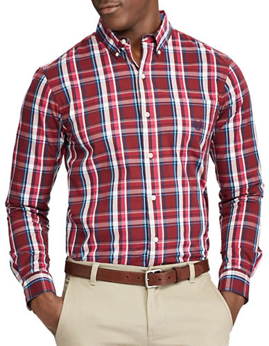 Chaps Tartan Casual Button-Down Shirt-RED-X-Large