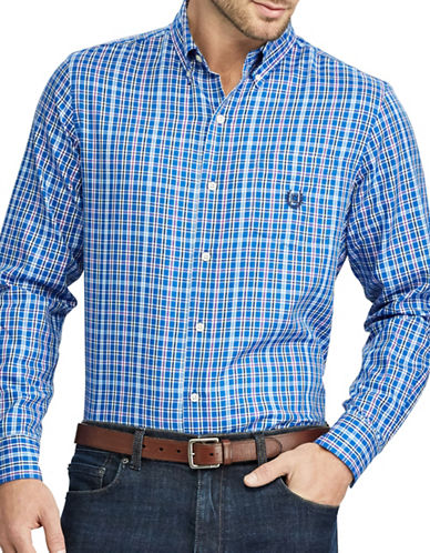 Chaps Checked Twill Button-Down Shirt-BLUE-X-Large