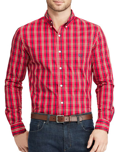 Chaps Plaid Stretch Poplin Shirt-RED-Large