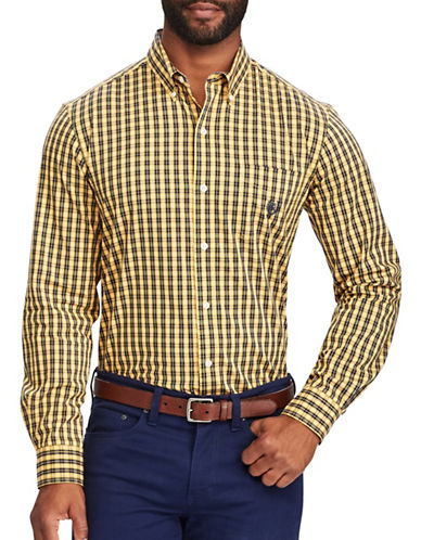 Chaps Plaid Stretch Poplin Shirt-GOLD-Small