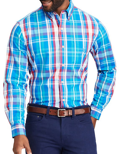 Chaps Plaid Stretch Poplin Button-Down Shirt-BLUE-Small