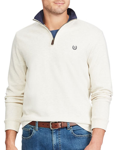 Chaps Mock Neck Pullover Sweater-NATURAL-Large