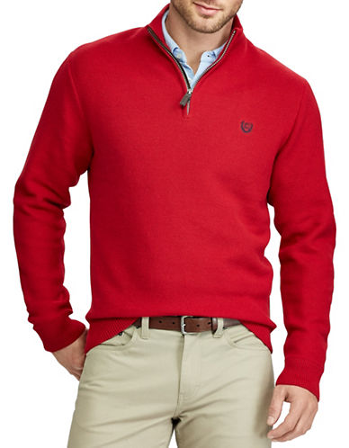 Chaps Mockneck Zip Sweater-RED-X-Large