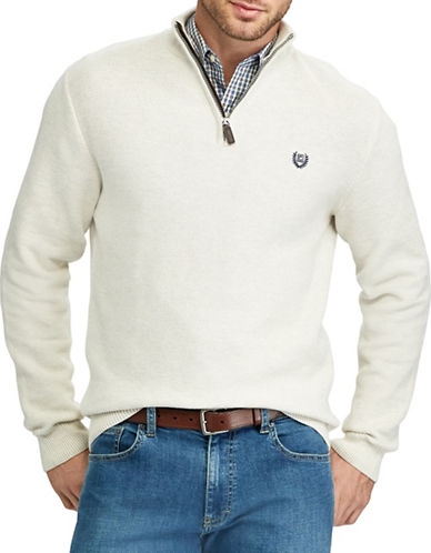 Chaps Mockneck Zip Sweater-NATURAL-Large