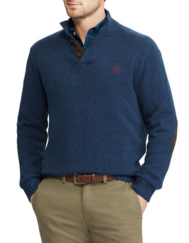 Chaps Mockneck Sweater-BLUE-X-Large
